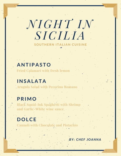 Navy Blue and Brown Frame Italian Menu