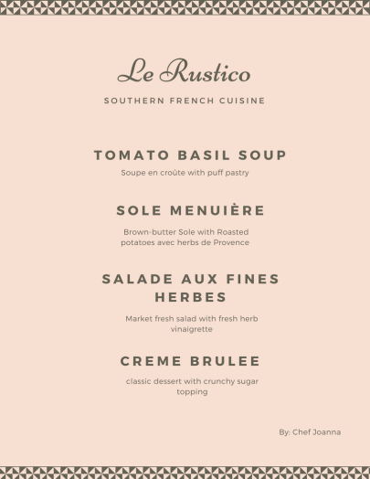 Pastel Pink and Grey French Menu